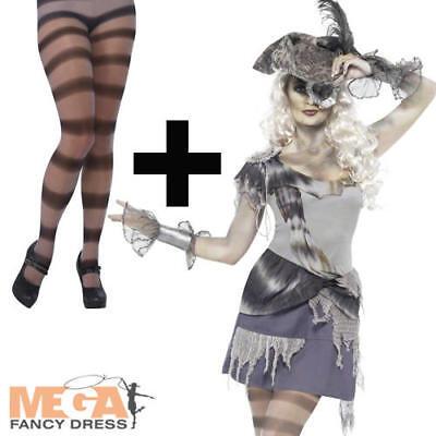 Tights Hat Madame Voyage Ladies Ghost Pirate Fancy Dress Halloween Costume