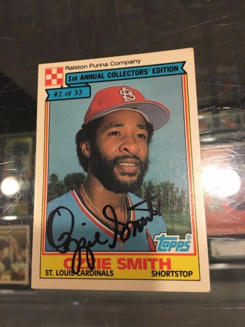1984 Ralston Purina 2 Ozzie Smith St Louis Cardinals Signed Baseball Card