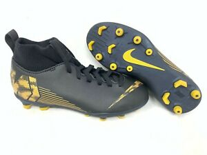 NEW-Nike-Youth-Boy-039-s-Mercurial-Superfly-6-Soccer-Cleats-Black-Gold-AH73-A20-tz