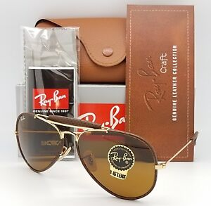 10e62cc4cf Image is loading NEW-Rayban-Outdoorsman-Leather-Craft-Aviator-RB3422Q-9041-