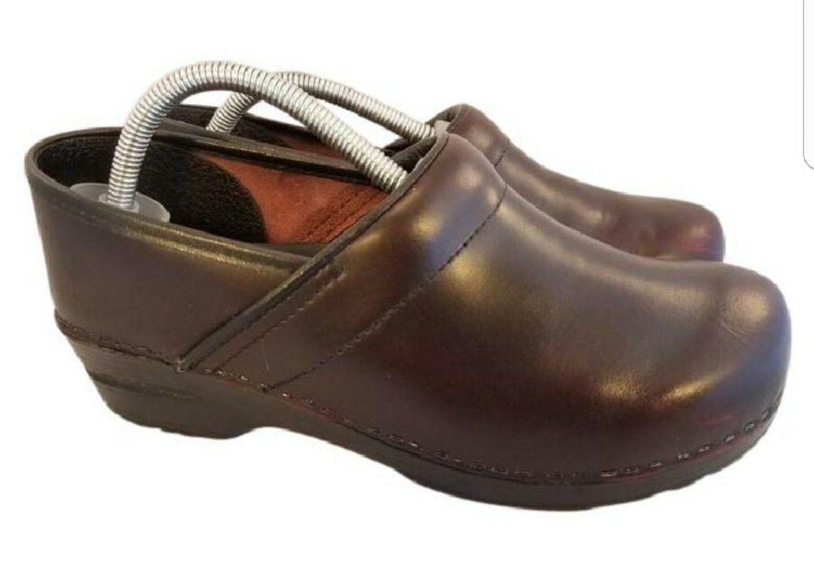 SIZE EUR 41 US 10 Dansko professional stapled clogs clogs clogs woman shoes burgundy leather 572f5b