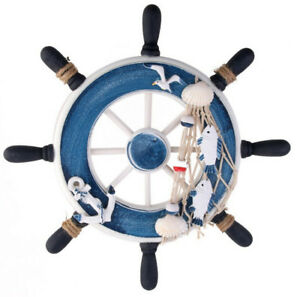 Nautical-Wooden-Ship-Sailboat-Boat-Steering-Wheel-Fishing-Net-Home-Decor-9-039-039-inch