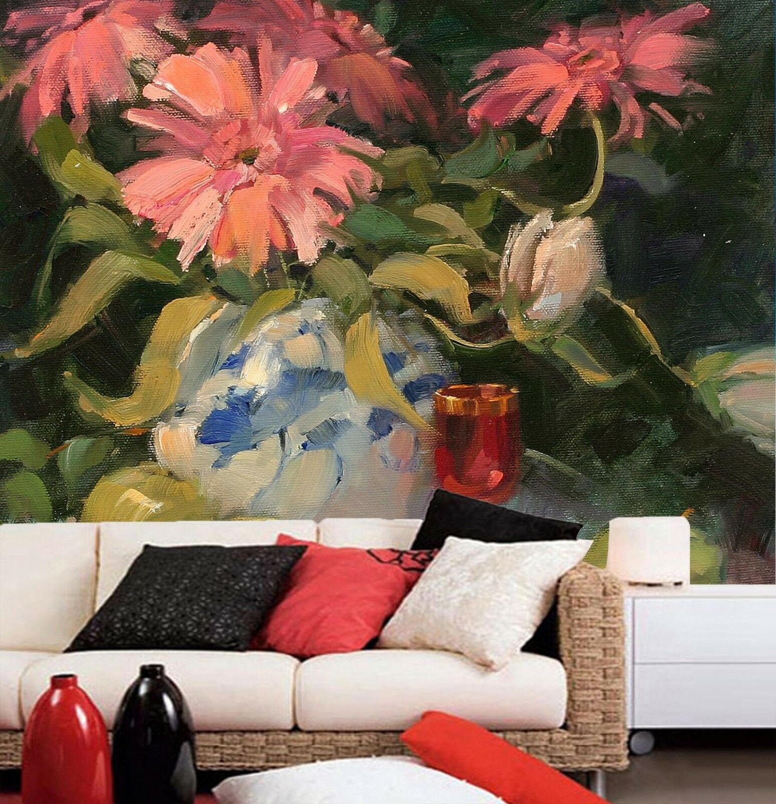 3D Flowers Glasses Painted Paper Wall Print Wall Decal Wall Deco Indoor Murals