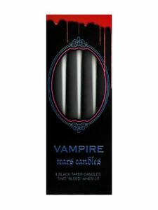 Gothic-Pack-Of-4-Weeping-Rose-Black-amp-Bleeding-Red-Taper-Candles-25cm-Tall