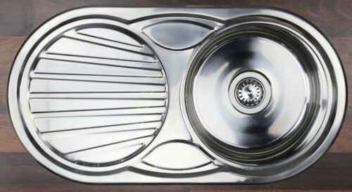 Edelstahlspüle BERNUS Aurea 45 starkes Material Spüle NEU ovale Einbauspüle