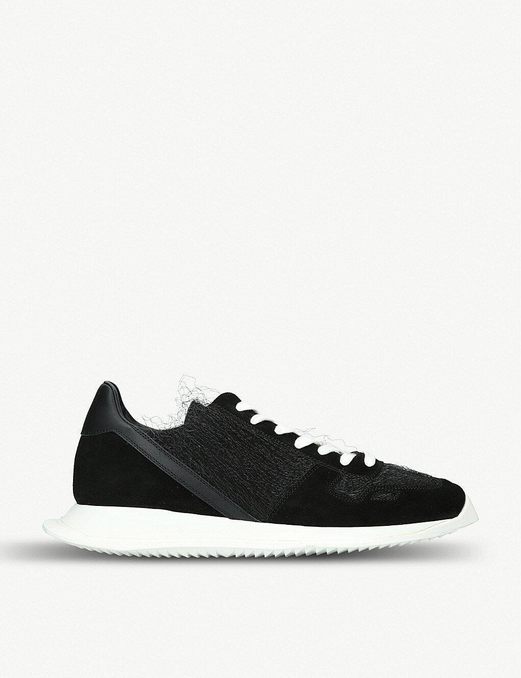 Nuevo Y En Caja RICK OWENS Negro italiano hecho Gamuza Textil Zapatillas zapatillas UK8 último