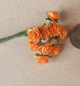 1-12-Scale-Single-Bunch-10-Flowers-Of-Orange-Paper-Roses-Tumdee-Dolls-House-B