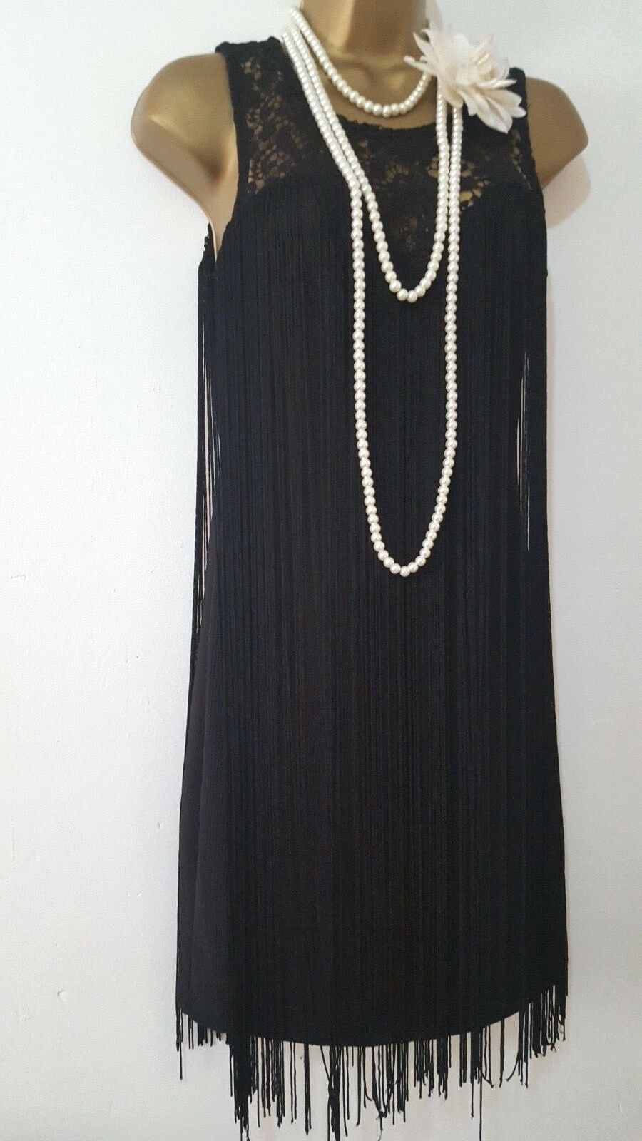 VINTAGE 20'S GATSBY FLAPPER CHARLESTON TASSEL DECO FRINGE DRESS UK10