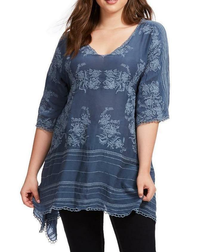 New JOHNNY WAS embroiderot leaf garden tunic shirt blouse 1x GORGEOUS   14 16