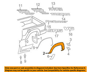s l300 toyota oem 05 15 tacoma bed wheel well fender flare molding right