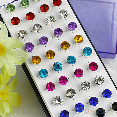 WHOLESALE 20 PAIRS CRYSTAL SOLITAIRE STUDS EARRINGS UNISEX PUNK PIERCING JEWELRY