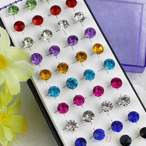 20 Pairs Lot Mixed Color Men Womens Sparkling Round Crystal Gothic Stud Earrings