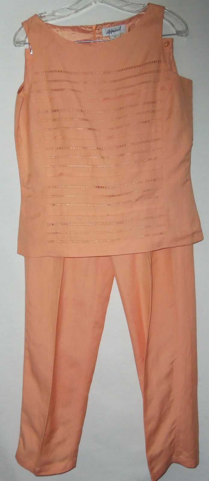 Appraisal Beautiful Orange Lined Sleeveless Top & Pants 8-10