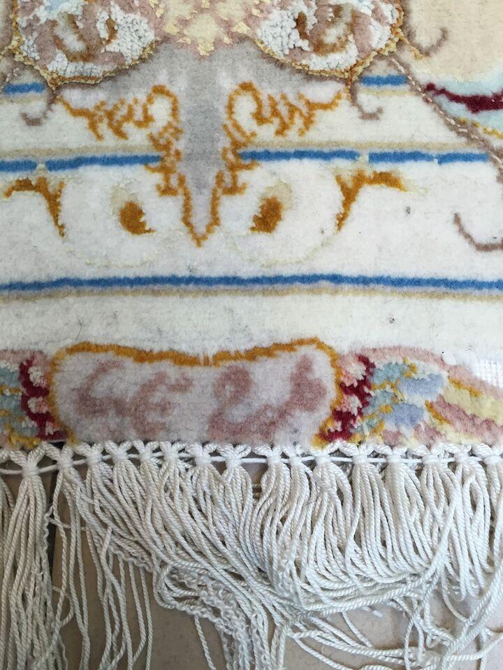 Gulvtæppe, ægte tæppe, Uld/silk på silk