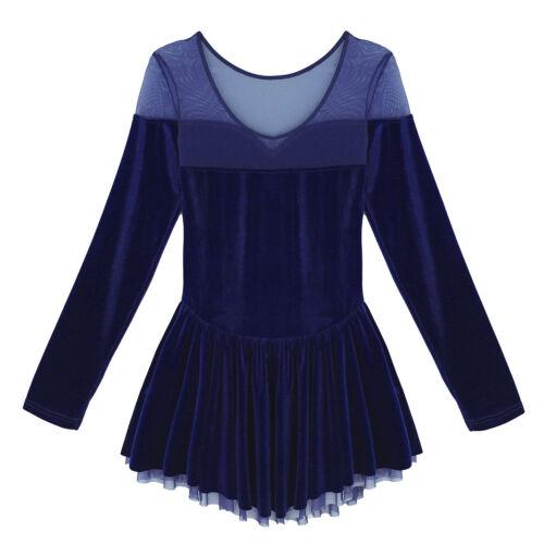 Adult Women Long Sleeve Ballet Dance Leotard Mesh Skirt Ice Figure Skating Dress