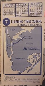 Details about NOS 1976 New York City Subway 7 Flushing Line Train Timetable  Map Schedule NYC