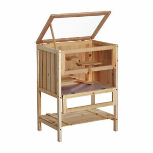 Fir-Wood-Small-Animals-Play-House-Exercise-Cage-Hamster-Pet-Mouse-Rats-w-3-Tier