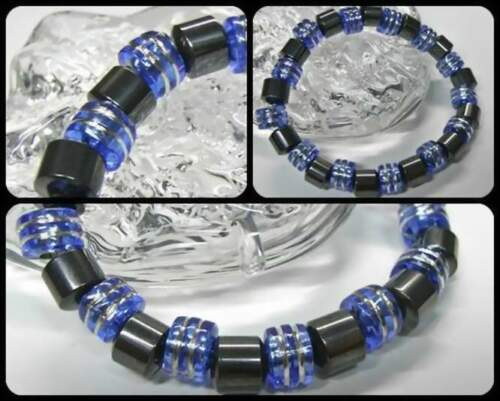 NEU MAGNETARMBAND mit 8+9mm HÄMATIT PERLEN schwarz//blau ARMBAND Magnet