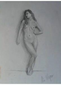 "Nude Sketch Beautiful Naked Woman Artist A Woynar from Europe ~16""x 12"" Original"