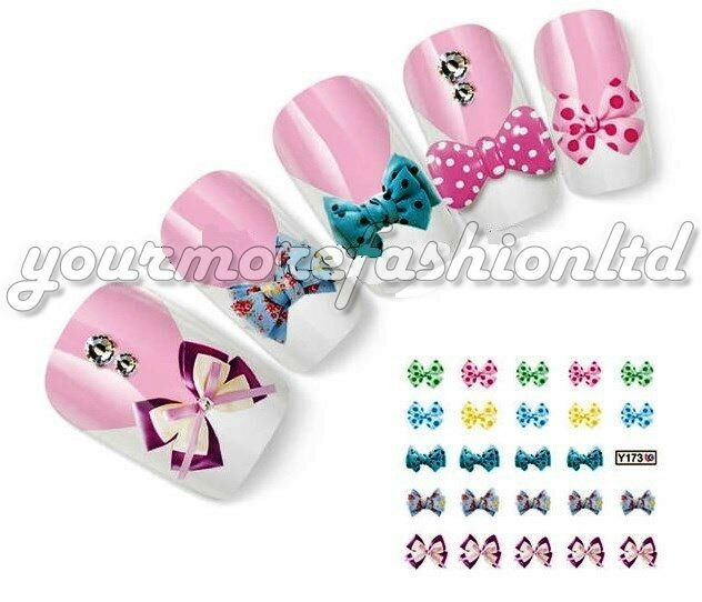 NAIL ART WATER TRANSFER STICKERS DECALS BOW STYLE(A88)