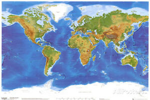 Satellite physical map of the world poster print 36x24 world map image is loading satellite physical map of the world poster print gumiabroncs Choice Image