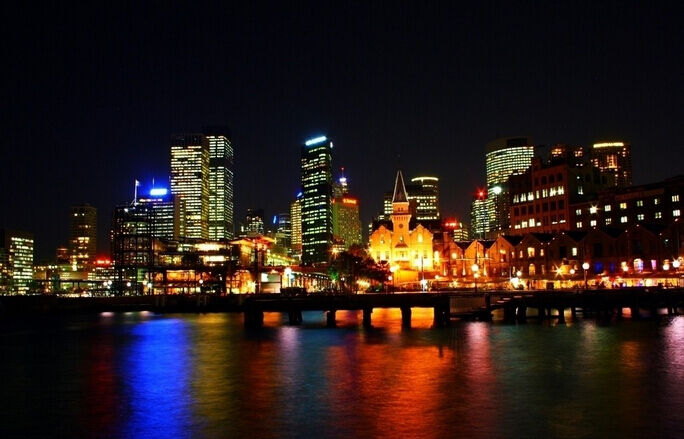 3D Sydney Night Lights Wall Paper Wall Print Decal Wall Deco Indoor wall Murals