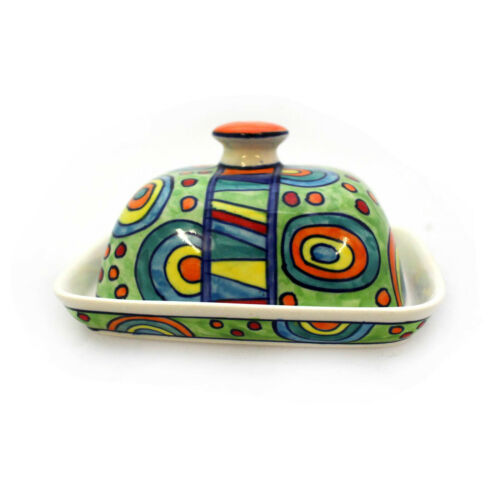 Butterdose mit Deckel Butterbehälter Keramik Handbemalt Bunt Gall /& Zick