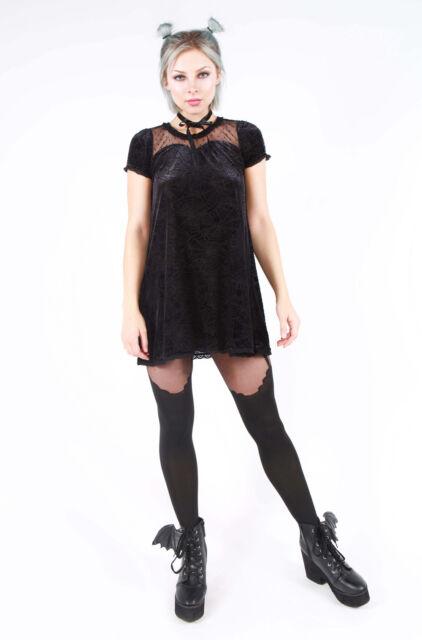 Iron Fist Cave Creeps Sweetheart Tunic Dress Black Velvet Gothic Punk by Ebay Seller