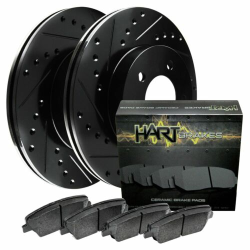 FRONT KIT Black Hart *DRILLED /& SLOTTED* Disc Brake Rotors Ceramic Pads F2034