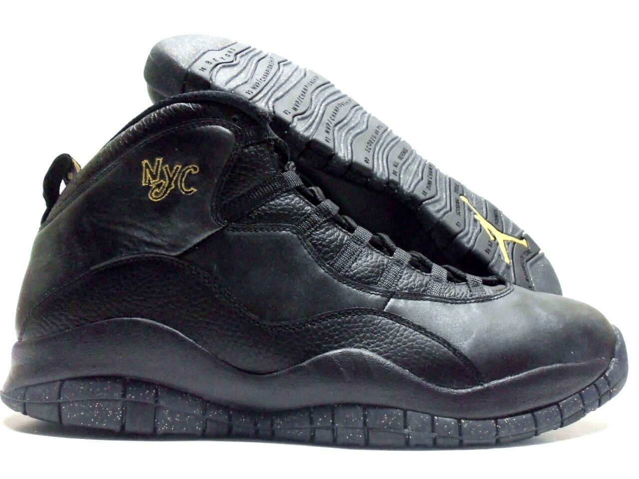 NIKE AIR JORDAN RETRO 10  NYC  BLACK GREY-METALLIC gold SZ MEN'S 16 [310805-012]