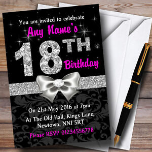 Image Is Loading Pink Black Silver Diamond 18Th Birthday Party Personalised