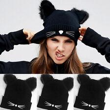 Women Devil Horns Cat Ear Winter Beanie Crochet Braided Knit Ski Wool Cap Hat ES