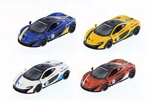 """4PC Set: Kinsmart 5"""" McLaren P1 Stripes Exclusive Edition Diecast Model Car 1:36"""