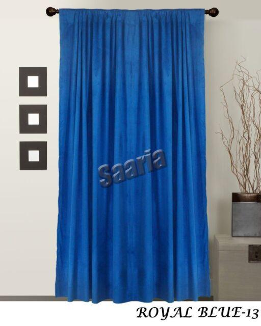 Saaria Royal Blue Velvet Thermal Blackout Panel Drape Pure