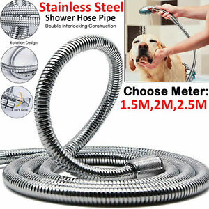 1.5M 2M 2.5M STAINLESS STEEL CHROME FLEXIBLE BATH BATHROOM SHOWER HEAD HOSE PIPE