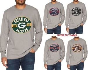 NFL-NHL-Team-Manches-Longues-Football-Gaufre-Effet-Vieilli-Tee-Jersey-Vintage-Apparel