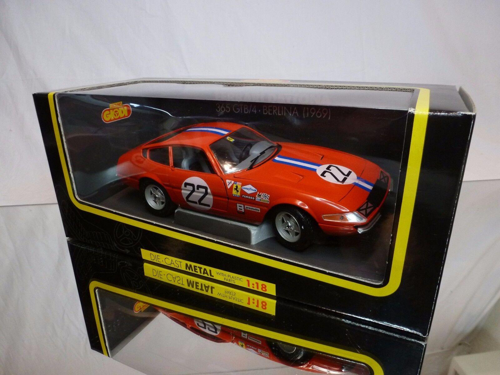 GIODI 74007 FERRARI DAYTONA 365 GTB GTB GTB 4 BERLINA 1969 RED 1 18 - EXCELLENT IN BOX ca44f4