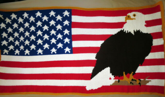 HANDMADE Crochet AFGHAN Knit THROW Quilt BED BLANKET us AMERICAN FLAG Bald EAGLE