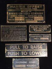 6 Vintage Harris Seybold Offset Printing Press Brass Tags Id Plates