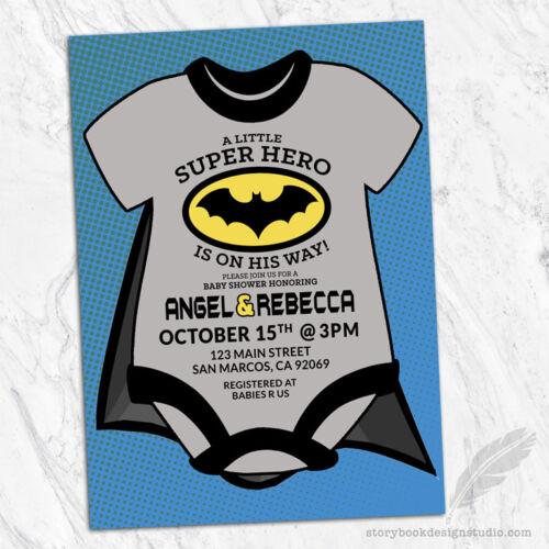 Batman Baby Shower Invitations Superhero Super Hero Cape Comic