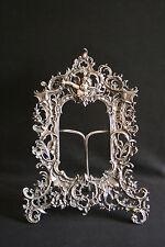 ancien cadre porte photo en métal ajouré à décors de fleur et ange fin XIX ème