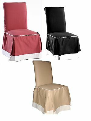 Pair Of Cotton Solid Corded Full Dining Chair Slip Cover