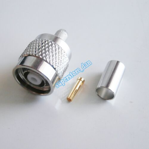 1X RP-TNC Crimp Plug male Female Pin connector for LMR195 RG58 RG142 RG400 cable