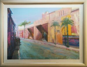 PAUL-CURTIS-NEAC-SIGNED-ORIGINAL-CONTEMPORARY-ART-PAINTING-A-MOROCCO-MARRAKESH
