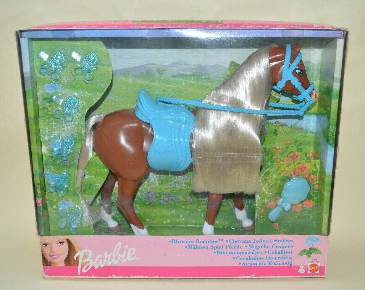 Vintage Barbie Horse 2002 Blossom Beauties Blau Flowers Mattel Boxed Unused
