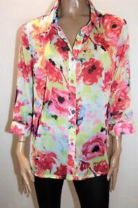 Jillian-Brand-Floral-Chiffon-3-4-Sleeve-Shirt-Top-Size-16-AN02