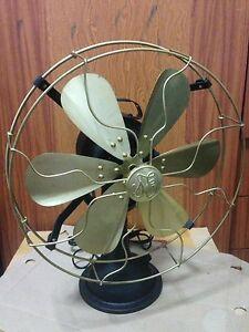 12-034-Blade-Electric-Table-Fan-Oscillating-Orbit-Vintage-Metal-Brass-Antique-style