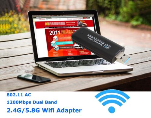 Dual Band 1200M USB 3.0 WiFi Wireless Network Adapter 5G//867Mbps+2.4G//300Mbps