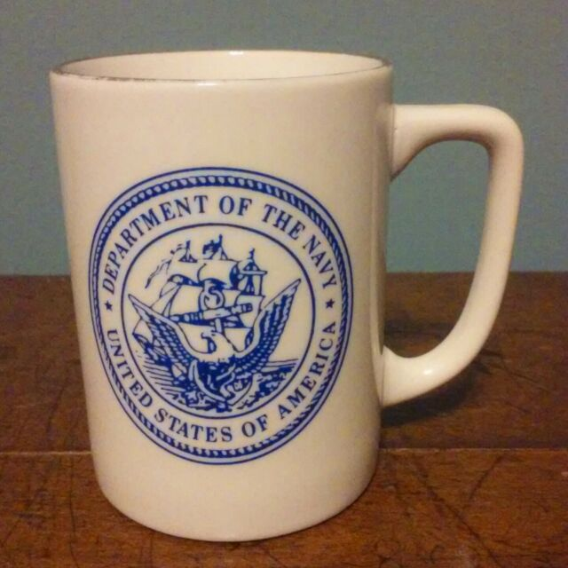 United States Navy White Coffee Cup Mug Collector USN Military Gold Rim Tea Coco