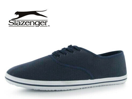 MENS NAVY SLAZENGER CANVAS FLAT TRAINER PLIMSOLL PUMPS CASUAL SHOES SIZE 7